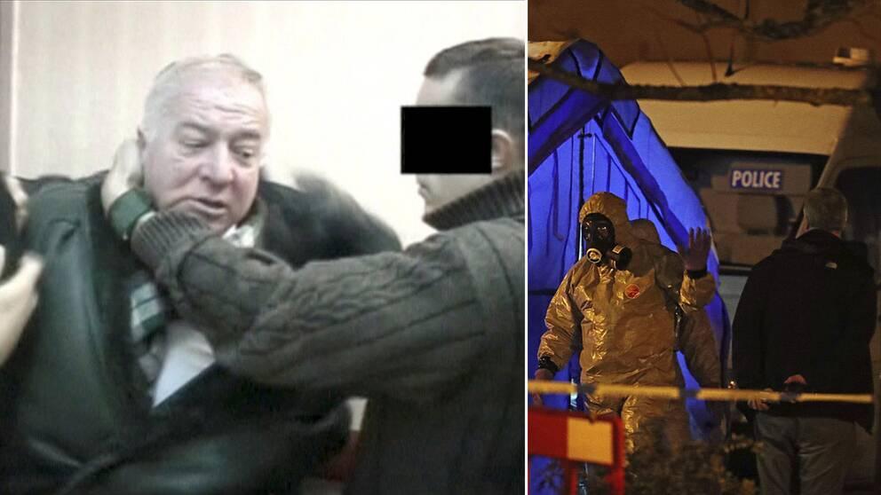 Bilden till vänster visar när Sergej Skripal grips sedan han avslöjats som dubbelagent.