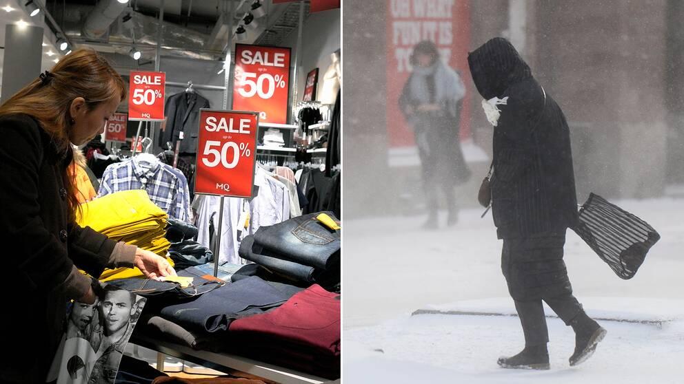 Kvinna handlar kläder. Person med luva går i snöoväder.