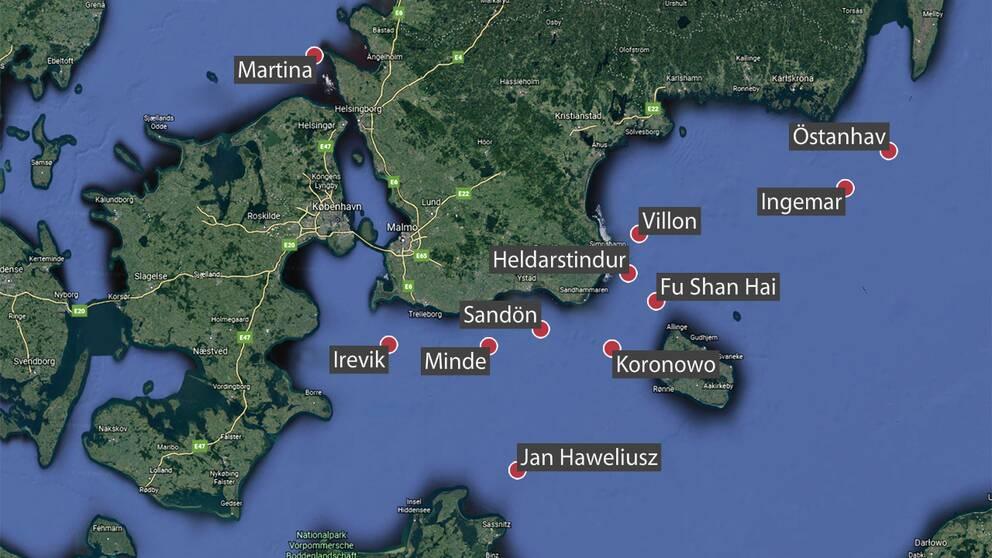 Elva vrak utanför Skånes och Blekinges kust har pekats ut som potentiella miljöhot.