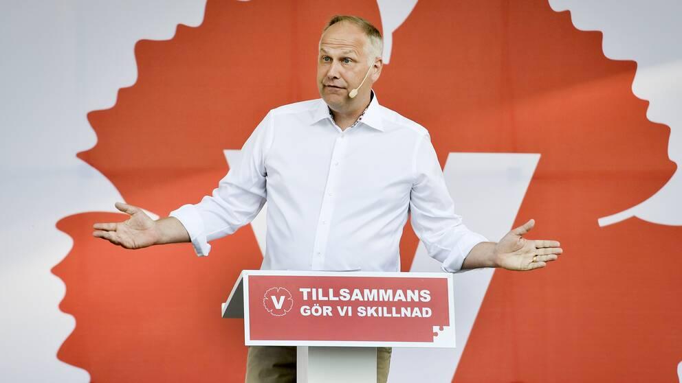 Vänsterledaren Jonas Sjöstedt i Almedalen 2016.