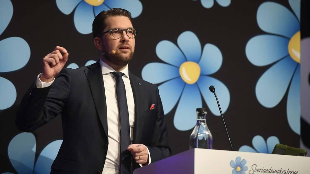 Partiledaren Jimmie Åkesson talar under partiets landsdagar 2017.