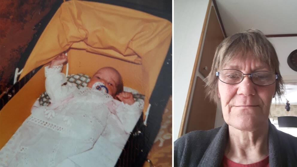 Jenny som nyfödd efter snöstormen och Agneta Schönhult idag.