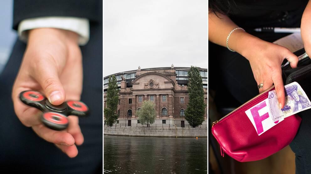 En fidgetspinner, riksdagshuset i Stockholm och ett homeparty arrangerat av Feministiskt initiativ.