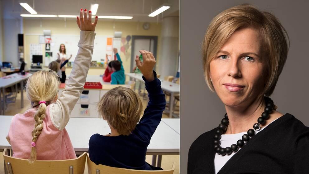 Mia Heikkilä och en skolklass.