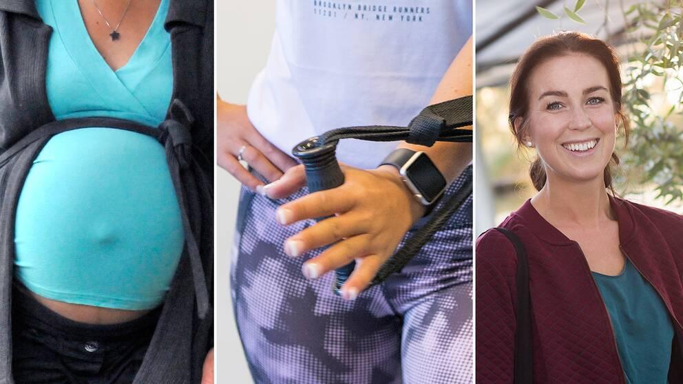 En gravid kivnna, en kvinna som tränar styrketräning med gummiband samt Sofia Ståhl
