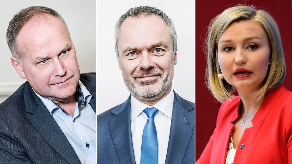 V-ledaren Jonas Sjöstedt, L-ledaren Jan Björklund och KD-ledaren Ebba Busch Thor.