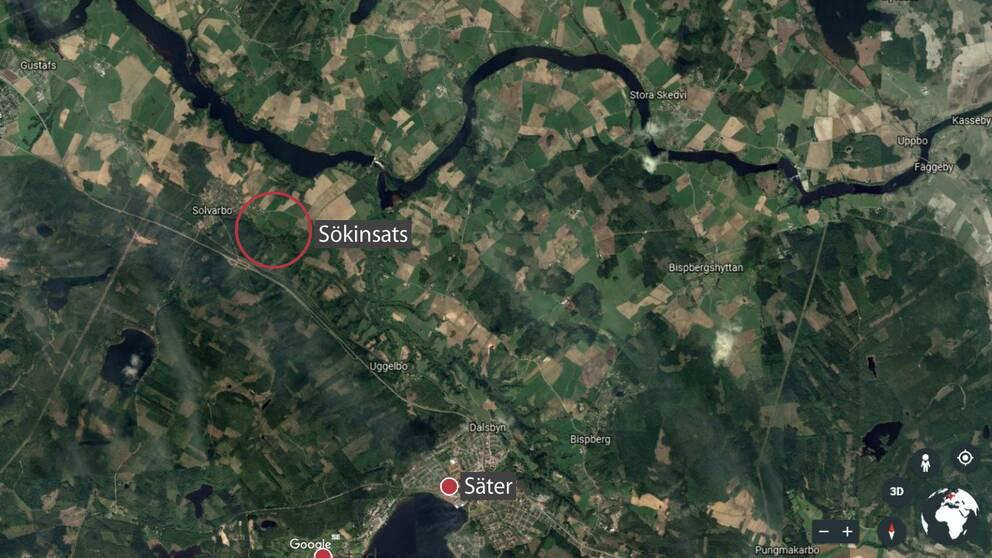 Karta som visar sökområdet vid Solvarbo utanför Säter