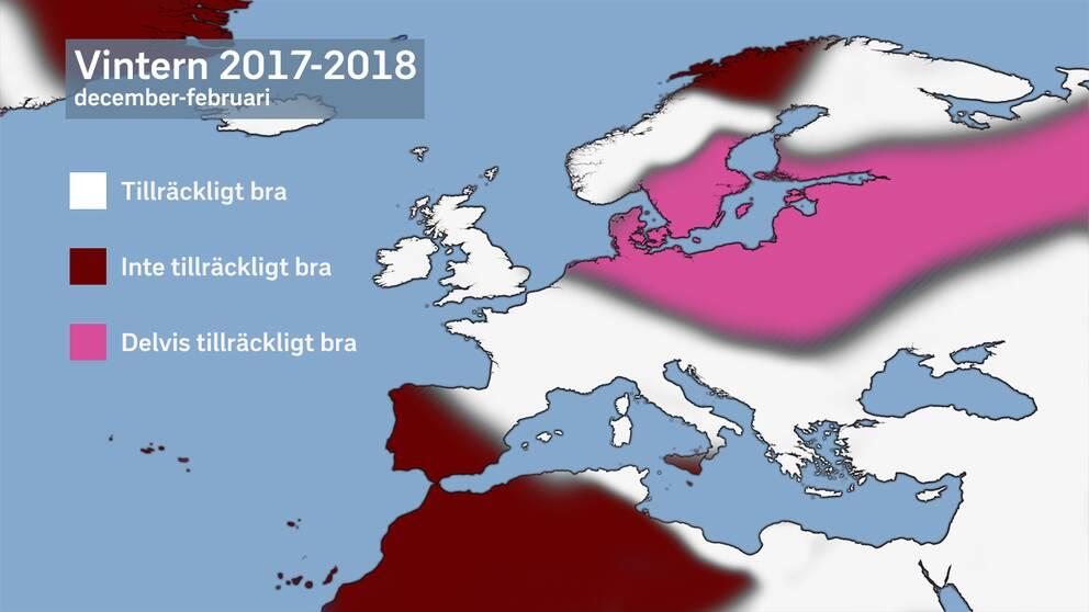 Samlad verifikation. Vita områden representerar en tillräckligt bra verifikation och röda inte tillräckligt bra. Den rosa verifikationen är ett mellanting där tilltänkta väderhändelser inträffat, men inte kunnat förbättra verifikationen till följd av tidpunkten för inträffandet. I det här fallet är det att den Sibiriska kylan kom senare än tänkt.