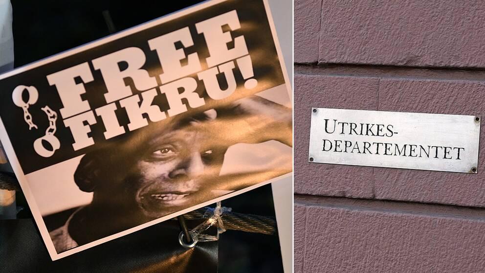 Bild på en affisch med Fikru och en bild på en skylt med texten Utrikesdepartementet.