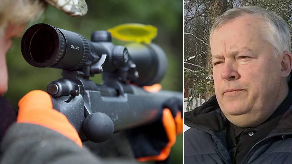 jägare som kikar genom gevärssikte, och en bild på Jarlås