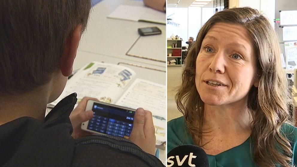 detaljbild pojke vid skolbänk tittar på miniräknare, och bild på kvinna som intervjuas