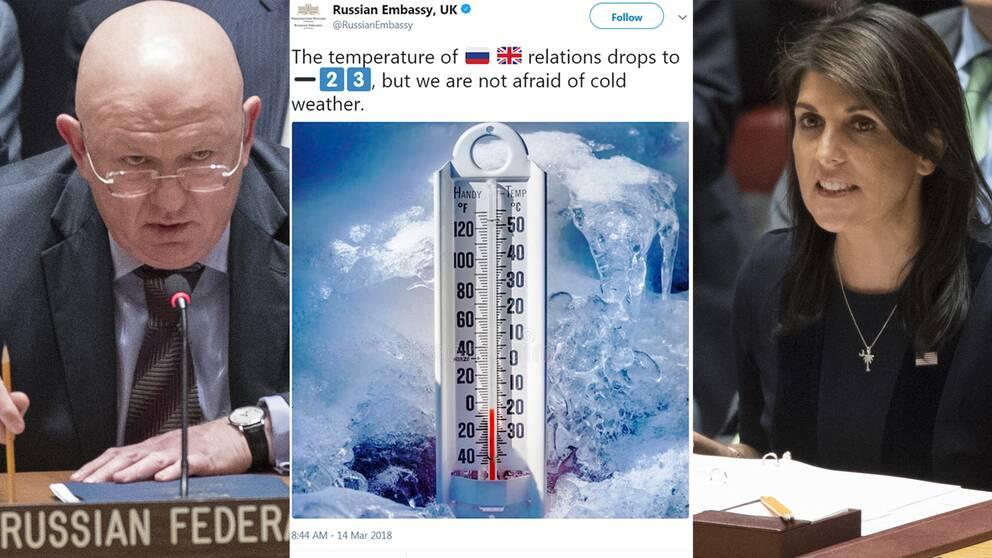 Rysslands FN-ambassadör Vassilij Nebenzia (till vänster) bredvid den tweet som ryska ambassaden i Storbritannien lade ut strax före mötet i FN:s säkerhetsråd.