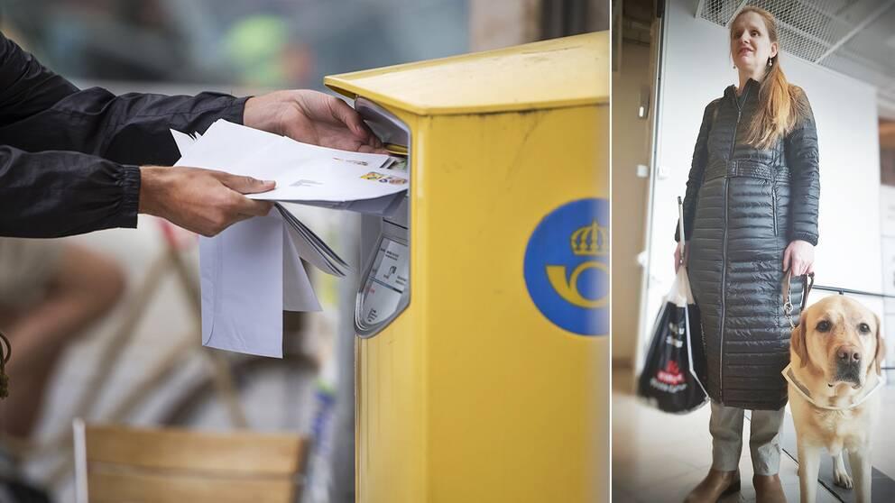 Tvådelad bild: En person lägger brev i en brevlåda. En blind kvinna står med en matkasse i ena handen och har en blindhund vid sin sida