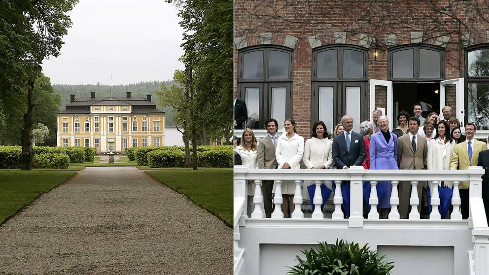 Tvådelad bild: Vybild på Steninge slott, och slottet i Sofiero där kungafamiljen med flera står vid trappsn