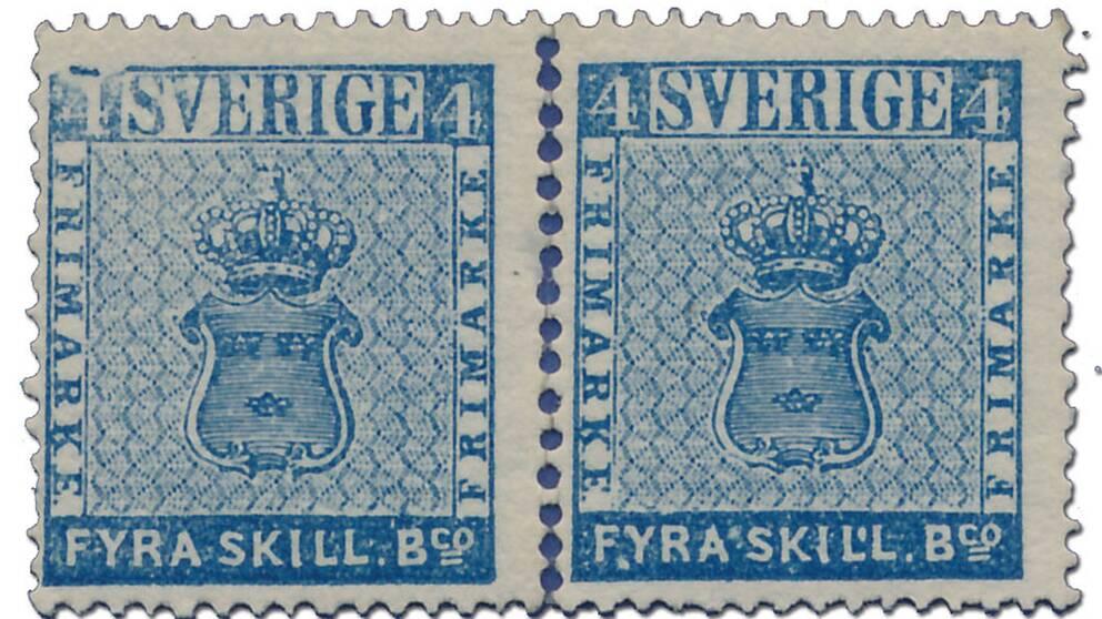 Svenska frimärken 4 skilling banco.