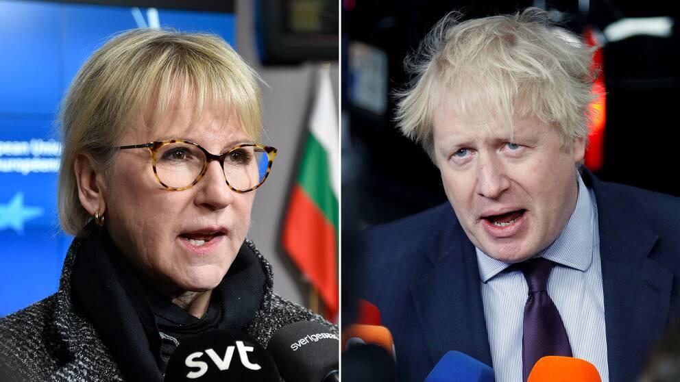 Margot Wallström och Boris Johnson.