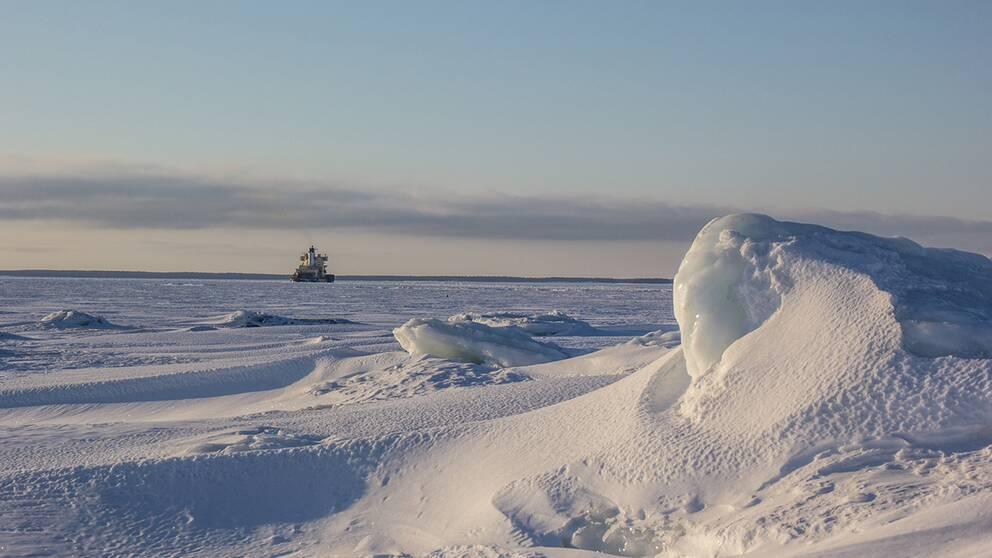 Vacker tisdagmorgon ute i Skelleftehamn. Statsisbrytaren Oden ligger och väntar på att få assistera ett fartyg genom isbältet. -10 gr