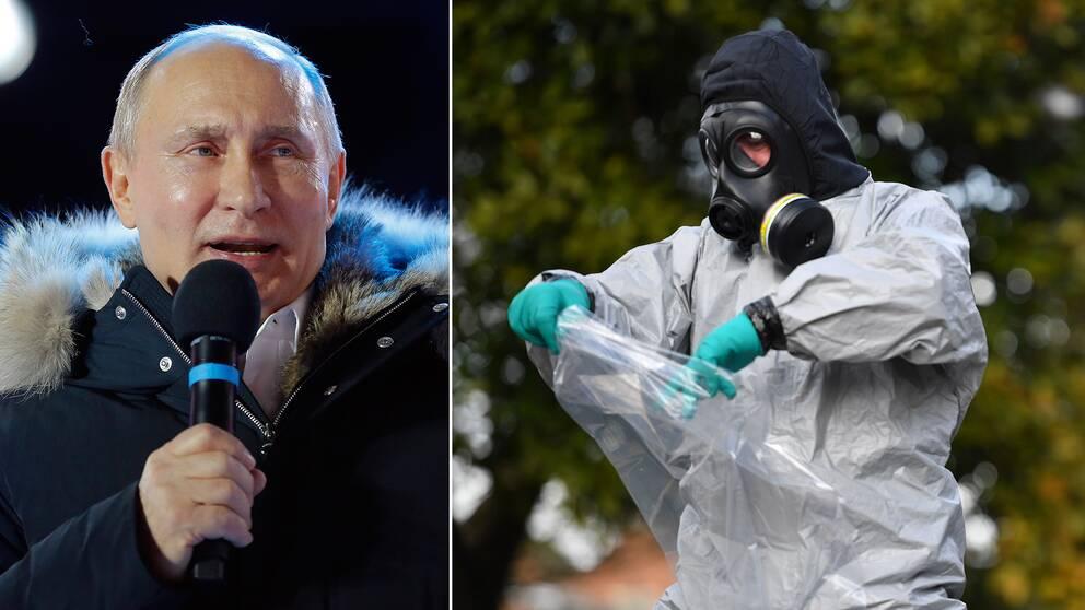Rysslands president Putin och brittiska tekniker tar prover på räcken i Salisbury.