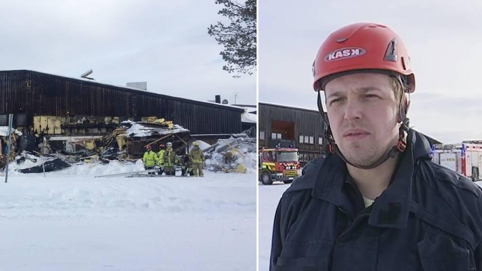 En mörk byggnad som delar av den rivits, brandmän står framför byggnaden och till höger intervjuas en man.