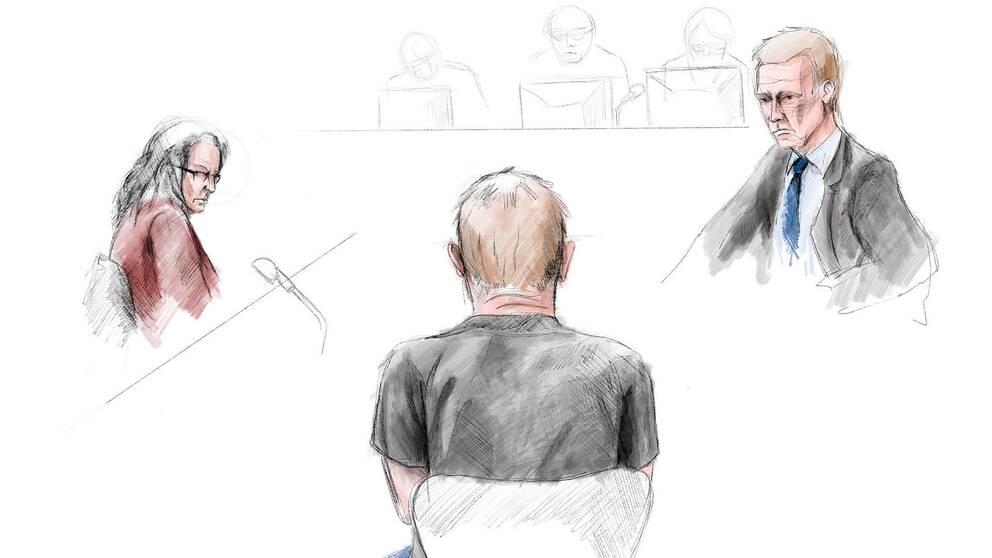 Teckning inifrån rättssalen. Peter Madsen sitter med ryggen emot åhörarna.