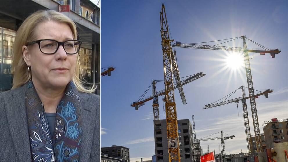 Catharina Elmsäter-Svärd, vd för Sveriges Byggindustrier, och byggkranar