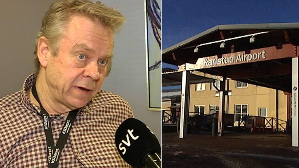 Till vänster syns Hans Wennerholm titta snett förbi kameran, en mikrofon är riktad mot honom. Till höger syns Karlstad airports entré