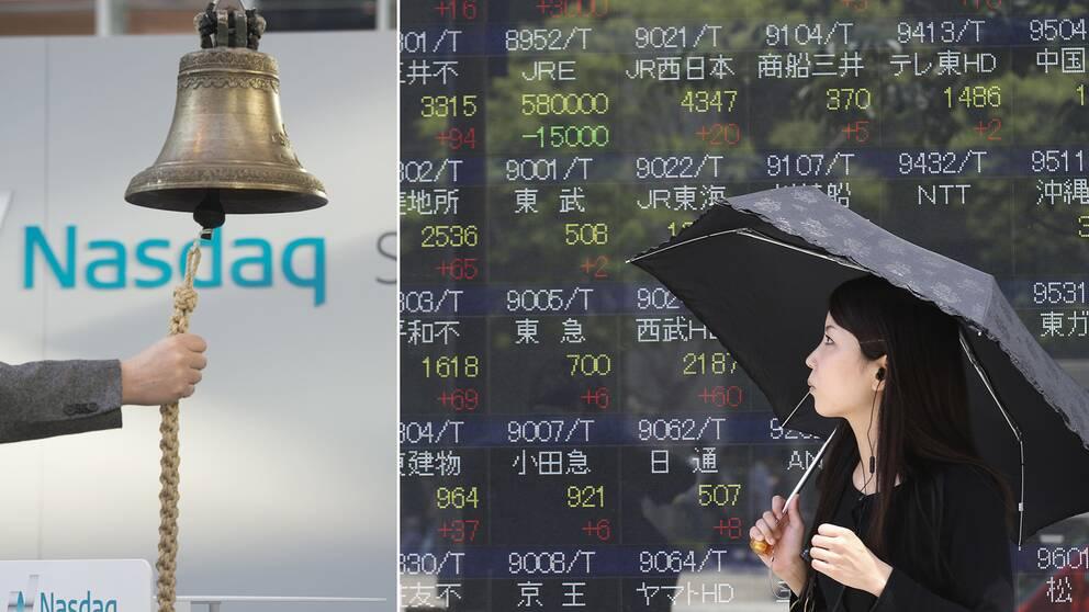 En man ringer i klockan när handeln öppnar på Stockholmsbörsen och en kvinna går förbi en börstavla.