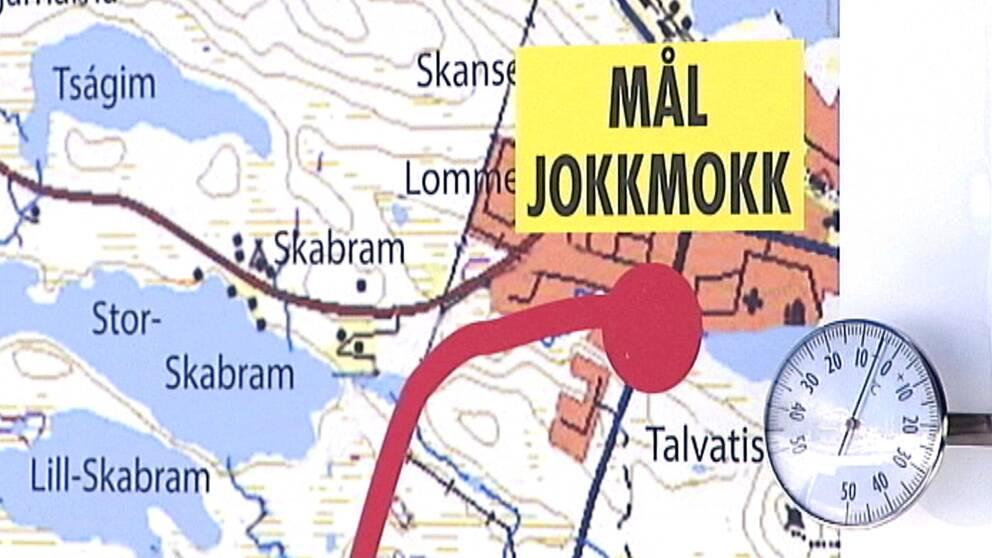 """En bild på en karta med texten """"Mål Jokkmokk""""."""