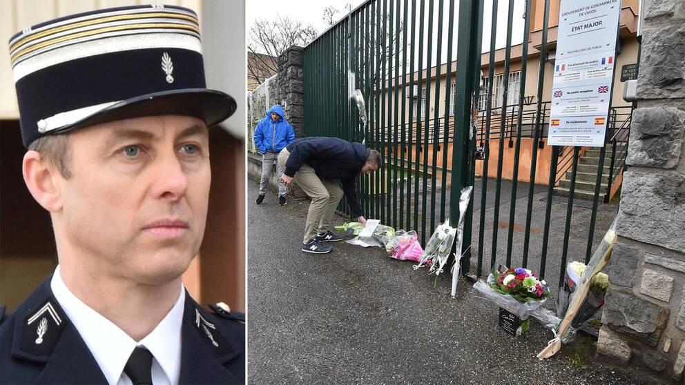 En bild på polisen Arnaud Beltrame samt personer lägger blommor utanför polishuset i Carcassonne.