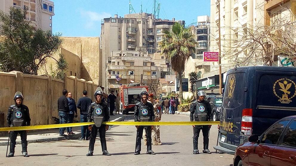 Explosionen inträffade i närheten av hotellet Tolip i området Stanley. Polisen spärrade av området.