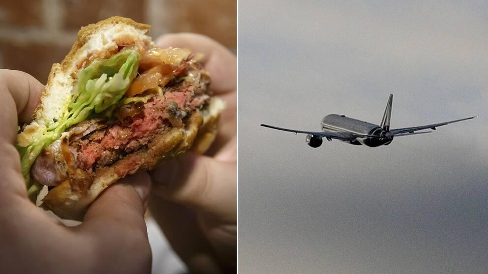 Till höger två händer som håller i en hamburgare och till vänster ett flygplan i luften.