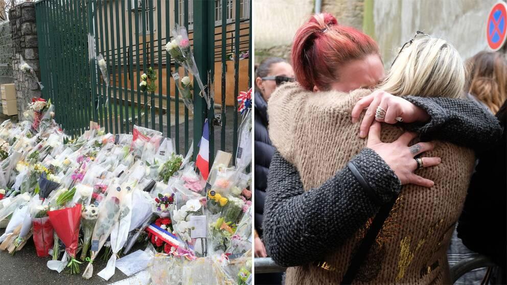 Blommor utanför räddningstjänsten i Carcasonne och människor i Trebes som kramas.