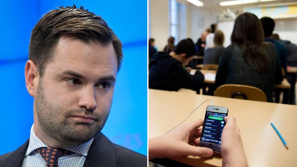 Moderaternas utbildningspolitiske talesperson Erik Bengtzboe är emot S-förslaget om mobilförbud i skolan.