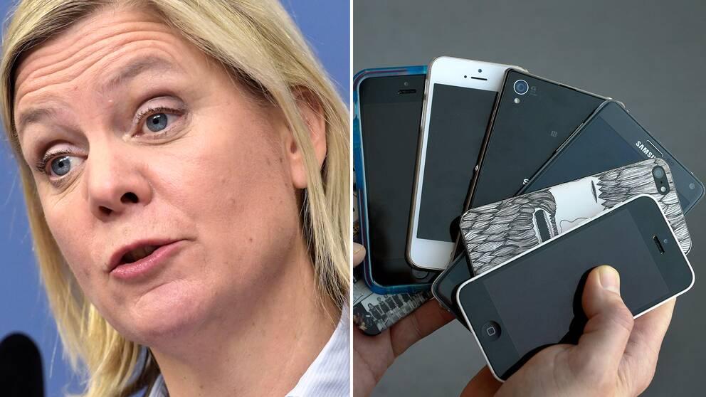 Finansminister Magdalena Andersson vill med S-vallöftet om mobilförbud i skolan ge bättre förutsättningar för studiero.