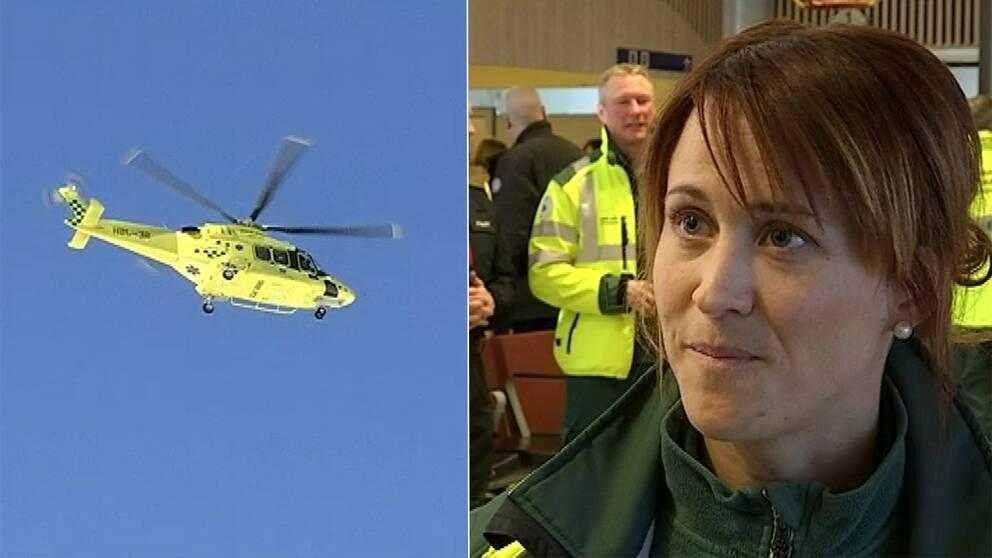 en gul ambulanshelikopter i luften och en sjuksköterska