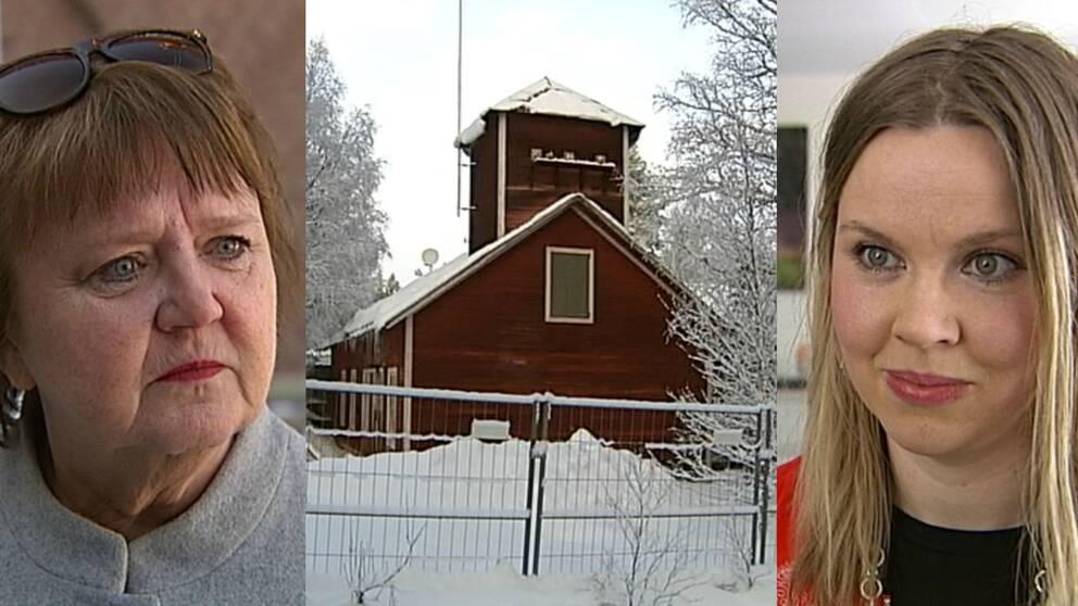 AnnSofie Andersson och Kristina Ernehed – på varsin sida om kraftverket i Långforsen.