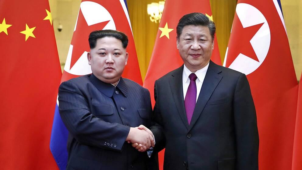 Nordkoreas diktator Kim Jong-un skakar hand med Kinas president Xi Jinping under ett möte i Peking, i slutet av mars 2018
