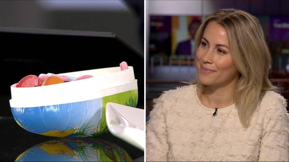 Ett påskägg med godis och hälsoentreprenören Anja Forsnor