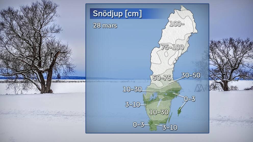 Snödjup på morgonen 28 mars
