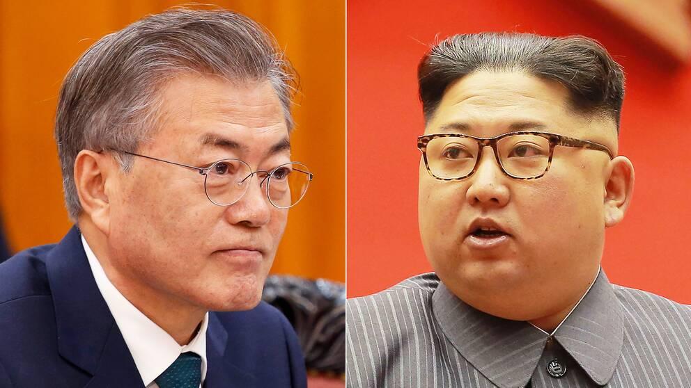 Sydkoreas president Moon Jae-In möter Nordkoreas diktator Kim Jong-Un 27 april.