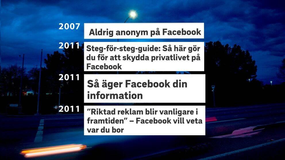 Ett axplock av SVT-rubriker om Facebook genom åren.