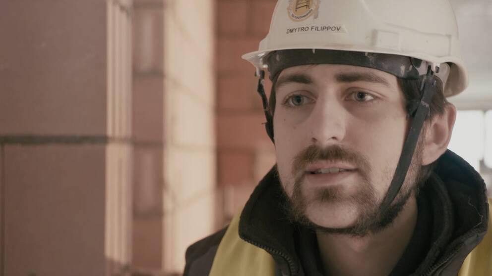 Byggnadsarbetaren Dimitro Filippov från Ukraina.