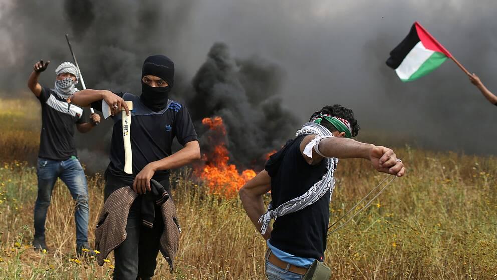 Palestinier som deltog i fredagens våldsamma sammanstötningar i Gaza