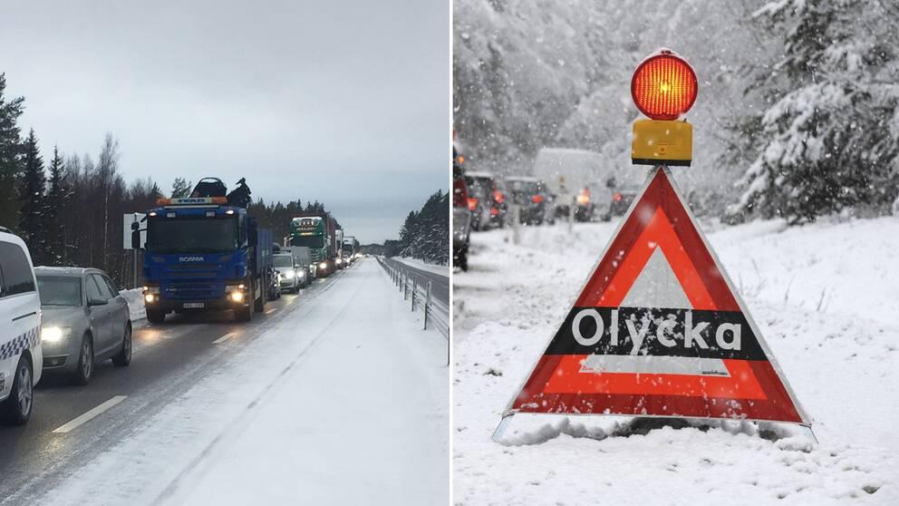 Två bilder, en på bilar som står i kö längs E4:an och en bild på en olyckstriangel som står utplacerad på en väg.