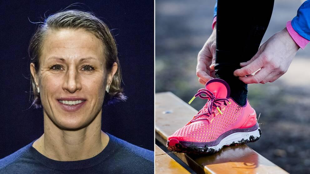 Två bilder, en på löpexperten Malin Ewerlöf och sedan en bild på en person som knyter sina löparskor.