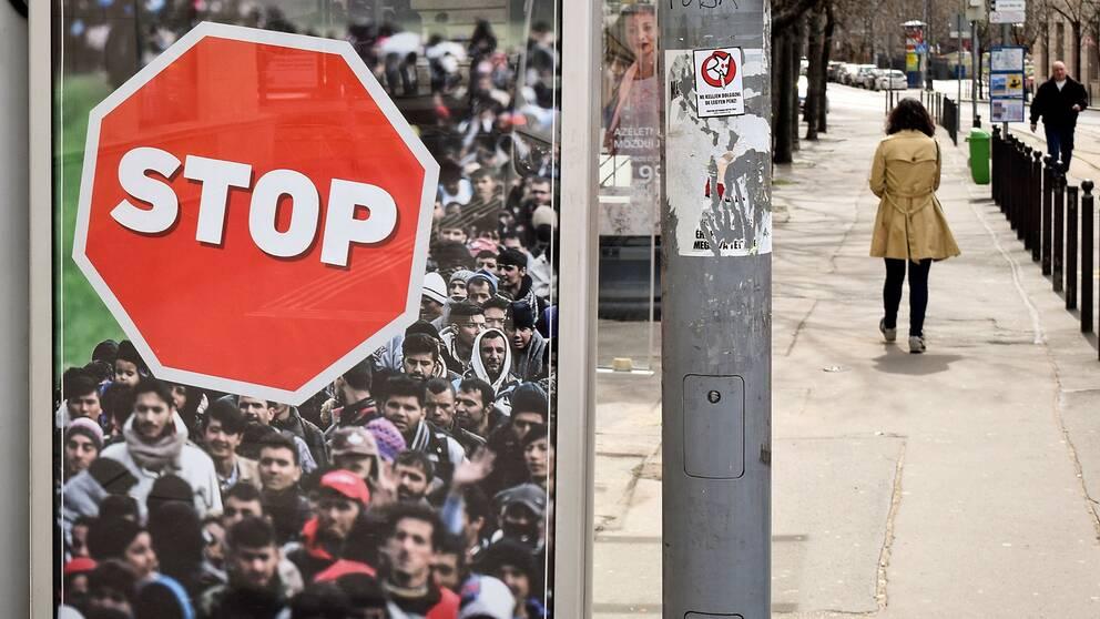 Valaffisch i Budapest som propagerar mot invandring