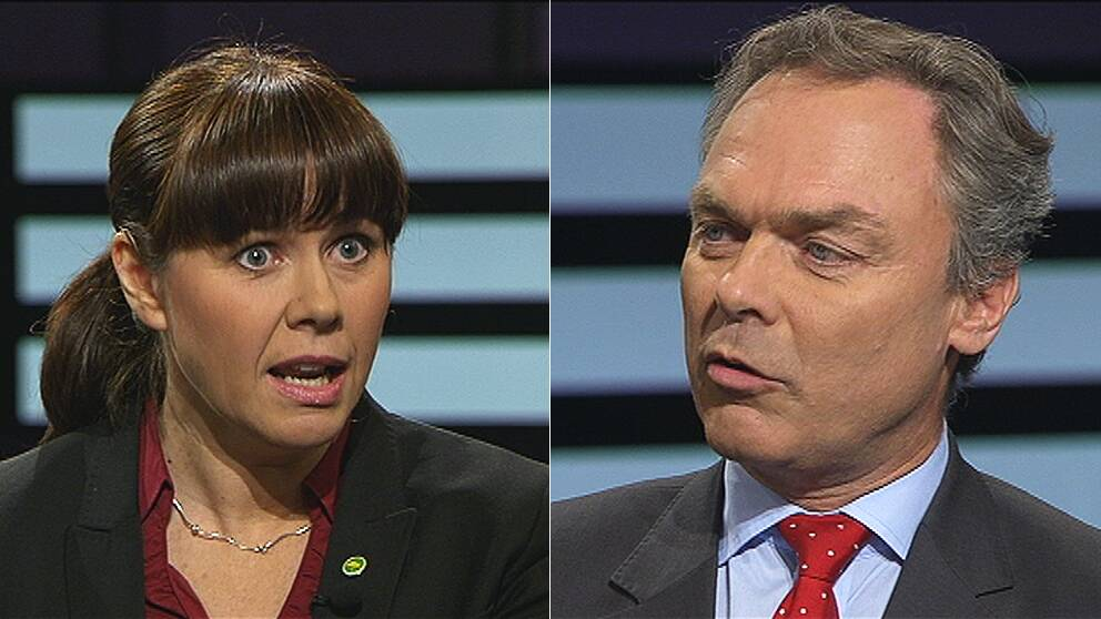 Åsa Romson (MP) och Jan Björklund (FP) i Agendas studio.