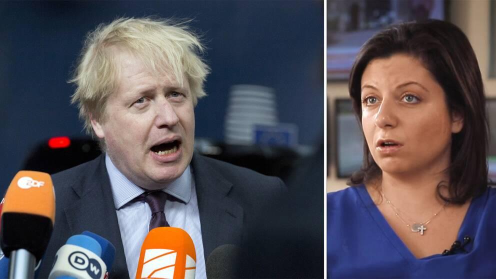 Storbritanniens utrikesminister Boris Johnson (till vänster) ljög, och västvärldens medier har inte redovisat det, säger Margarita Simonjan (till höger) i SVT:s Agenda.