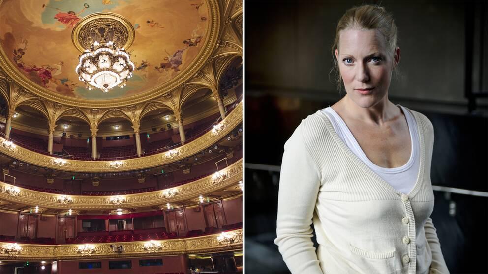 En bild på Kungliga Operan och en bild på regissören Sofia Jupither.