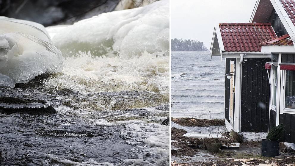En bäck med is runt som porlar fram ihopsatt med en villa som drabbats av översvämning.